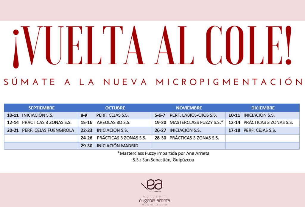 vuelta al cole - Cursos academia Eugenia Arrieta Micropigmentación 2018